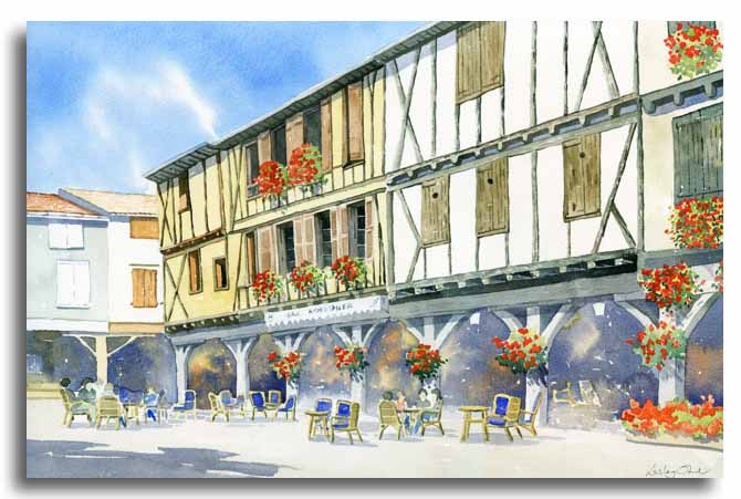 Original watercolour painting of Mirepoix, by artist Lesley Olver