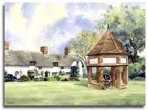Original watercolour painting of Ardeley, Hertfordshire, by artist Lesley Olver