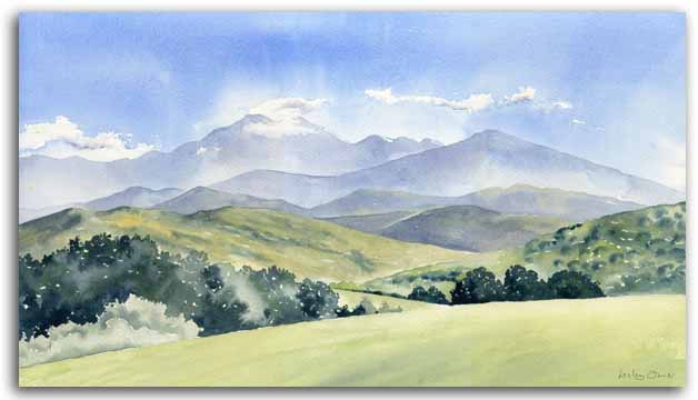 Print of watercolour painting of the Ariege, by artist Lesley Olver