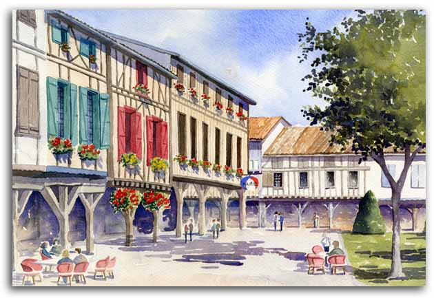 Print of watercolour painting of Mirepoix, by artist Lesley Olver