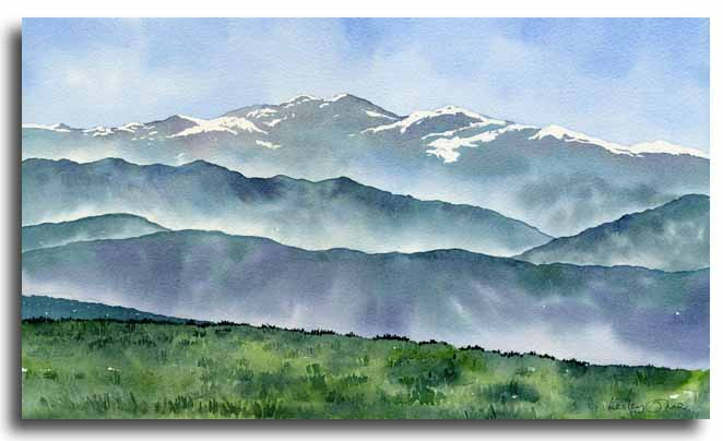 Original watercolour of the Ariege Pyrenees by artist Lesley Olver