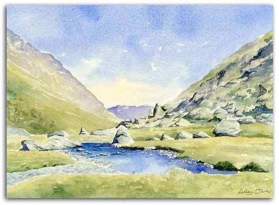Print of watercolour painting of the Soulcem Valley, Ariege, by artist Lesley Olver