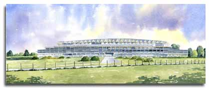 Print of watercolour painting of the new grandstand, Ascot racecourse, by artist Lesley Olver
