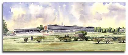Limited Edition Print of watercolour painting of Ascot Racecourse, by artist Lesley Olver