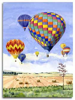 Print of watercolour painting of hot air balloons by artist Lesley Olver
