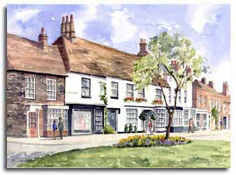 Print of watercolour painting of Beaconsfield, by artist Lesley Olver