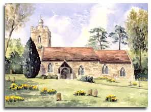 Print of watercolour painting Binfield Church, by artist Lesley Olver
