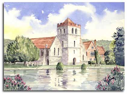 Print of watercolour painting of Bisham Church by artist Lesley Olver