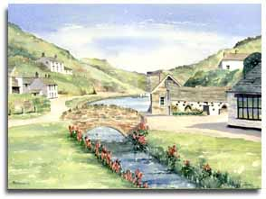 Print of watercolour painting of Boscastle, by artist Lesley Olver