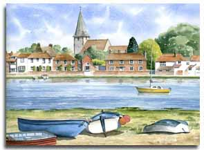 Print of watercolour painting of Bosham, by artist Lesley Olver