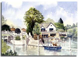 Print of watercolour painting of Boulters, Maidenhead, by artist Lesley Olver