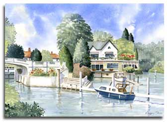 Print of watercolour painting of Boulters Lock by artist Lesley Olver