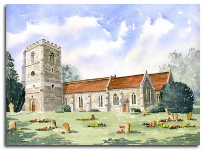 Print of watercolour painting of Bray Church, by artist Lesley Olver