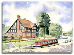 Print of original watercolour painting of Bray Lock, by artist Lesley Olver