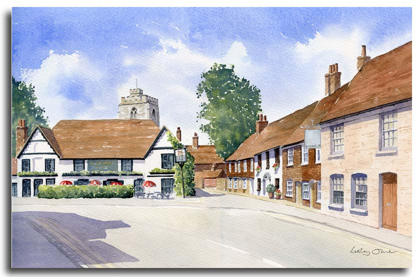 original watercolour painting of Bray village by artsit Lesley Olver