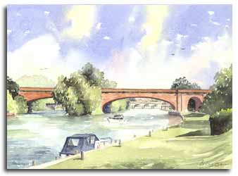Print of watercolour painting of Brunel's Bridge, Maidenhead, by artist Lesley Olver