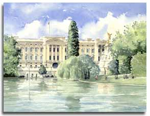 Original watercolour painting of Buckingham Palace, by artist Lesley Olver
