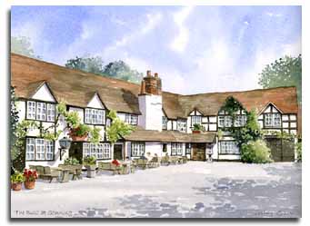 Original watercolour painting of 'The Bull' at Sonning, by artist Lesley Olver