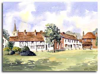 Print of watercolour painting of Burnham, by artist Lesley Olver