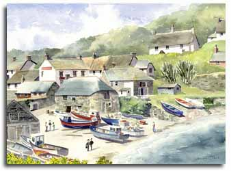 Print of watercolour painting of Cadgwith, by artist Lesley Olver