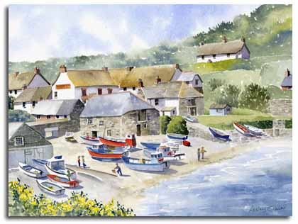 Original watercolour painting of Cadgwith, Cornwall, by artist Lesley Olver