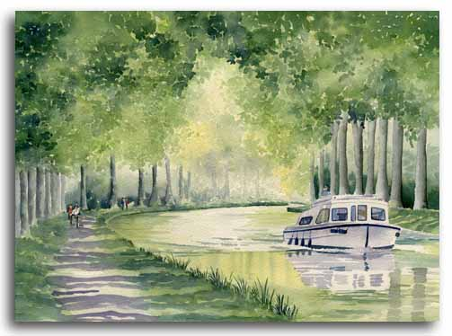 Print of an original watercolour of the Canal du Midi by artist Lesley Olver