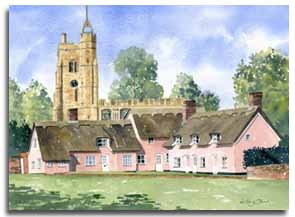 Watercolour painting of Cavendish, Suffolk, by artist Lesley Olver