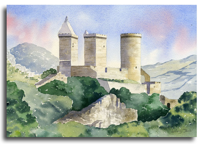 Original watercolour painting of Foix castle by artist Lesley Olver