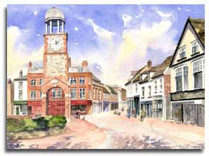 Print of watercolour painting of Chesham, by artist Lesley Olver
