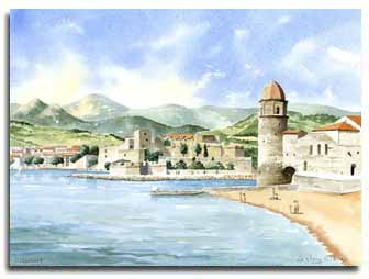 Print of watercolour painting of Collioure, by artist Lesley Olver
