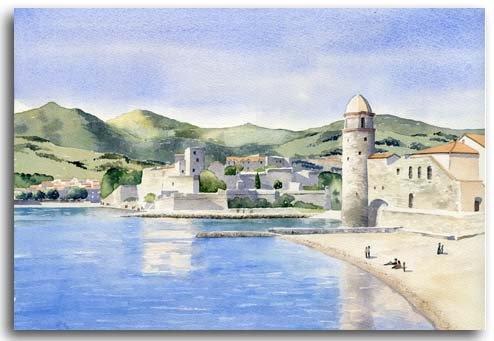 Original watercolour painting of Collioure by artist Lesley Olver