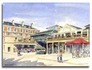 Print of watercolour painting of Covent Garden, by artist Lesley Olver