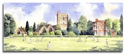 Original watercolour of cricket at Bray, by Lesley Olver