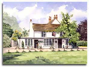 Print of watercolour painting of Littlewick Green, by artist Lesley Olver