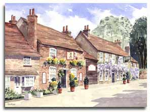 Print of watercolour painting of Denham by artist Lesley Olver