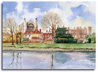 Print of watercolour painting of Eton College, by artist Lesley Olver