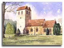 Print of watercolour painting of Fingest Church by artist Lesley Olver