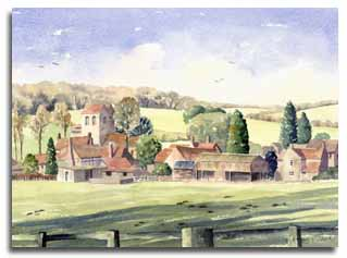 Print of watercolour painting of Fingest by artist Lesley Olver