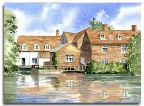 Print of Flatford Mill, by artist Lesley Olver