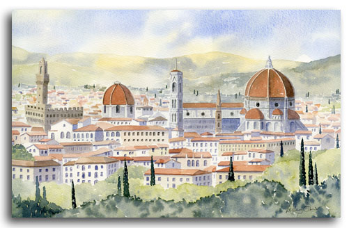 Original watercolour painting of Florence by artist Lesley Olver