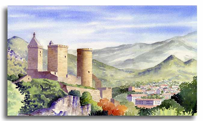 Original watercolour painting of Foix Castle, by artist Lesley Olver