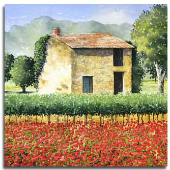 Print of watercolour painting of French Barn, by artist Lesley Olver