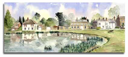 Print of watercolour painting of Gerrards Cross, by artist Lesley Olver