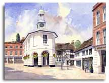 Print of watercolour painting of Godalming, by artist Lesley Olver