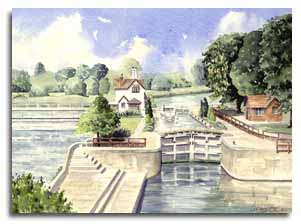 Original watercolour painting of Goring, by artist Lesley Olver