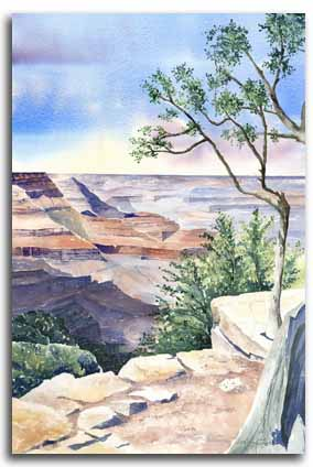 Original watercolour painting of the Grand Canyon, by artist Lesley Olver