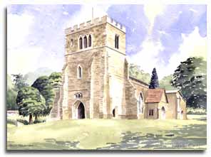 Print of watercolour painting of Great Missenden Church, by artist Lesley Olver
