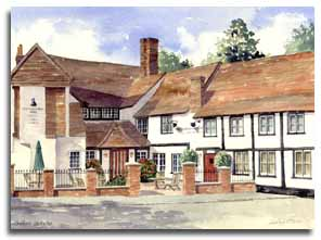 Print of watercolour painting of Chalfont St.Peter, by artist Lesley Olver