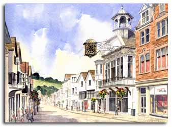 Print of watercolour painting Guildford, by artist Lesley Olver