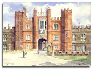 Print of watercolour painting of Hampton Court, by artist Lesley Olver